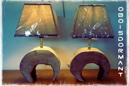 Paire de lampes en bois flotté