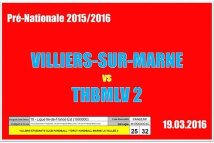 VILLIERS-SUR-MARNE vs THBMLV 2 (Pré-Nationale) 19.03.2016