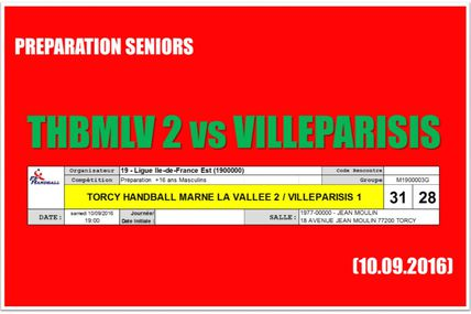 THBMLV 2 vs Villeparisis (Prépa Séniors - 10.09.2016)