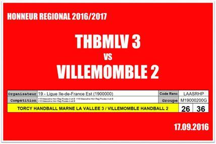 THBMLV 2 vs VILLEMOMBLE 2 (Honneur Régional LIFE) 17.09.2016