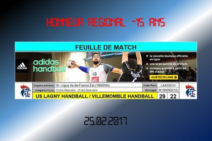 Lagny vs VHB (Honneur Régional -15 Ans) 25.02.2017