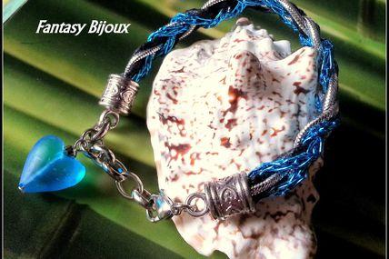Bracelet grosse tresse de cordon noir, bleu et argent.
