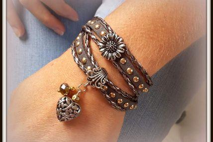 Bracelet gris antracite cordons tressés
