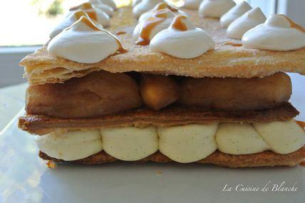 Millefeuille aux pommes caramélisées, crème vanille et  chantilly au caramel.