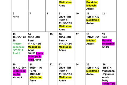 Programme d'avril 2015