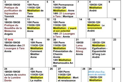Programme d'avril 2017