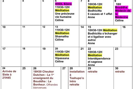 Programme du mois de Juillet 2017