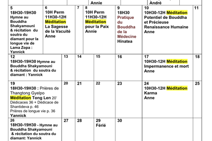 Programme du mois de Mai 2017