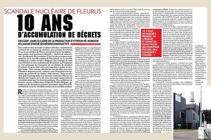 Fleurus : Dix ans d'accumulation de déchets nucléaires (04/10/2012)