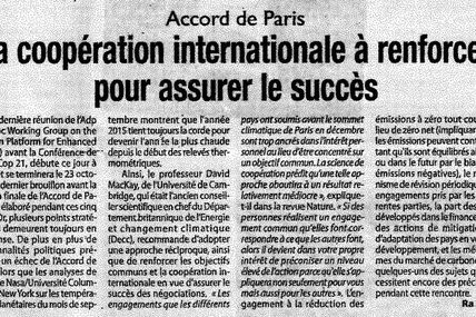 Paris Agreement - International cooperation to strengthen to ensure success