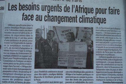 Accord de Paris : les besoins urgents de l'Afrique pour faire face au changement climatique - Nerves, Médiapart, Afrique Presse,Madagascar Matin, Madagascar Tribune, 7 et 8 décembre 2015