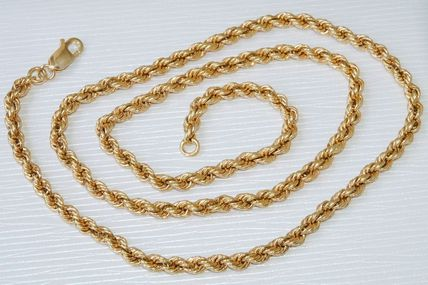 TRES CHIC COLLIER MAILLE CORDE EN OR JAUNE 18 K CARATS 17,35 gr