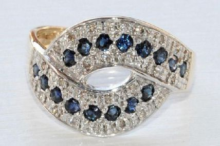RARE - TRES BELLE BAGUE STYLISEE 2 TONS 18 K CARATS - DIAMANTS - SAPHIRS   REF / B 793