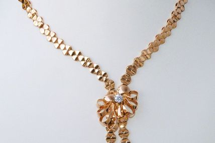 """SOMPTUEUX COLLIER ANCIEN """" NEGLIGE """" OR JAUNE 18 K CARATS - 44,15 gr - DIAMANT 0,50 ct    REF / AA 835"""