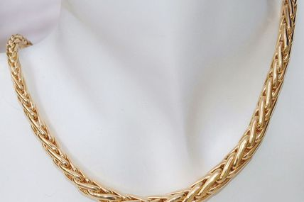 TRES BEAU COLLIER MAILLE PALMIER OR JAUNE 18 K CARATS 30 gr    REF / AA 836
