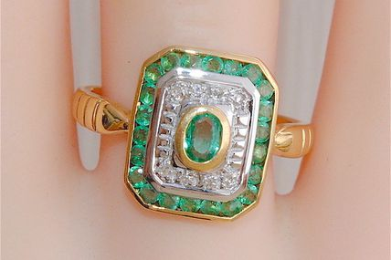 RARE BAGUE OCTOGONALE OR 2 TONS 18 K ( 750 ) - EMERAUDES - DIAMANTS    REF / AA 888