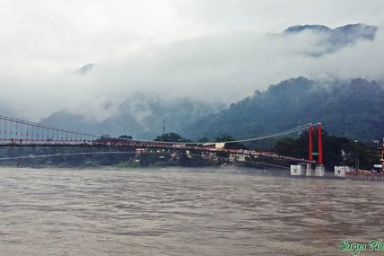 Blissful Early Morning View of Ram Jhula in Rishikesh.