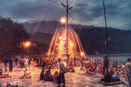 Beautiful Night view of the Triveni Ghat in Rishikesh..