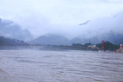 Cloudy weather at the Ram Jhula in Rishikesh.