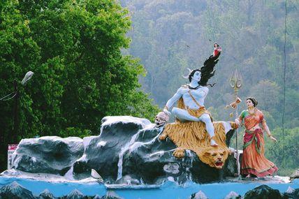 Lord Shiva Statue at Triveni Ghat in Rishikesh.