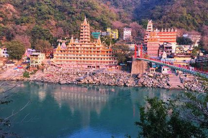 Morning Sunrise at the Lakshman Jhula, Rishikesh.