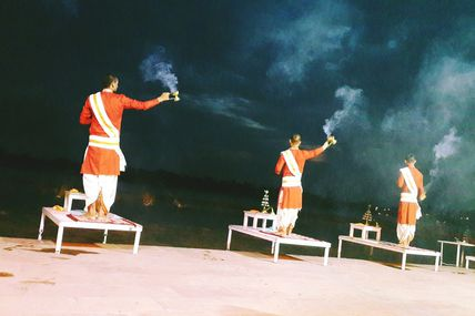 Starting of the Ganga Aarti in Rishikesh.