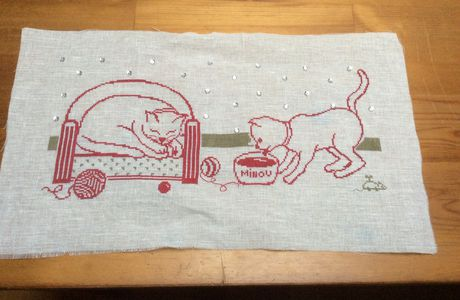 Broderie chat terminee