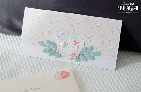 Carte porte-chèque mariage { très fleurie }