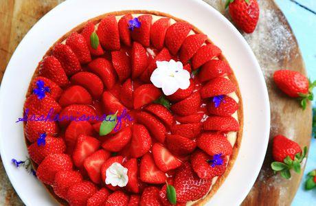 Tarte aux fraises et pistou de basilic façon Cédric Grolet