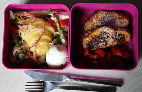 Bento #1 : tomates, mozza, pomme de terre, asperges, oeuf mollet
