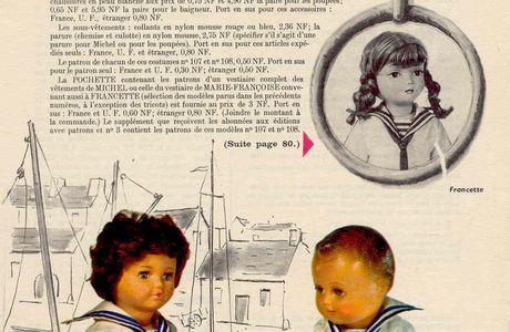 Patron poupon Michel Modes et travaux  septembre 1961