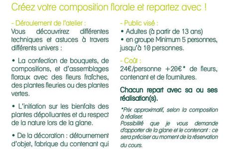 TARIF ATELIER en boutique : ADULTE