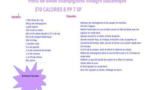 Cookeo weight watchers recettes faciles rapides au cookeo et autres robots ou sans - Vinaigre balsamique calorie ...