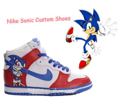 oportunidad Abuelos visitantes Mareo  The popular Cartoon Nike Dunk High Sonic Custom Shoes Red White ...