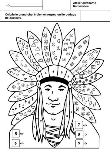 Les Indiens D Amérique Coloriage Selon Un Codage 2 école