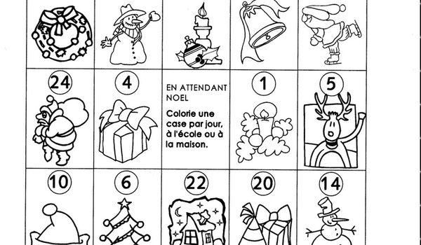 Noel cole maternelle gellow - Coloriage calendrier de l avent ...