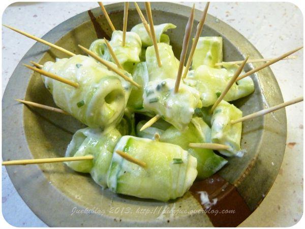 Roulés de concombre.