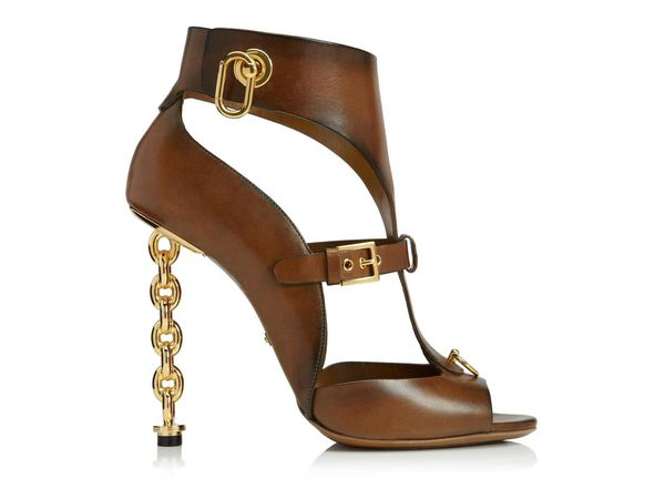 Leather Gladiator & T-strap Sandal With Chain Heel  ( Splendide)