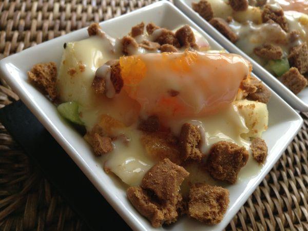 Salade de fruits à la crème anglaise et spéculoos