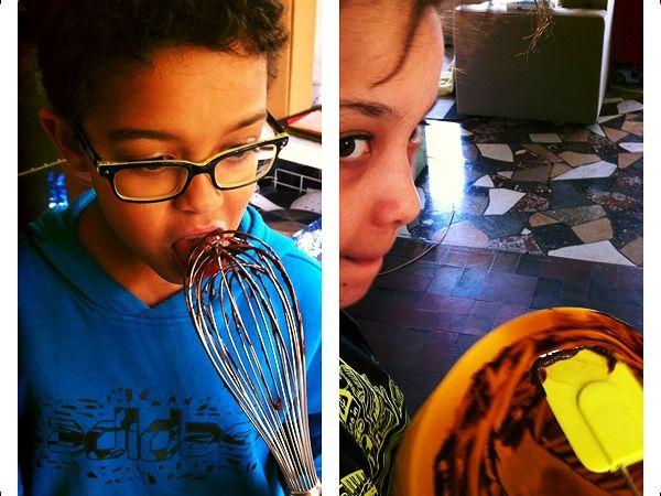 samedi : un gouter bien bon. Du chocolat, des plats à lécher les enfants adorent ca.