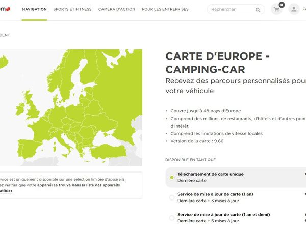Carte Tomtom Europe Camper
