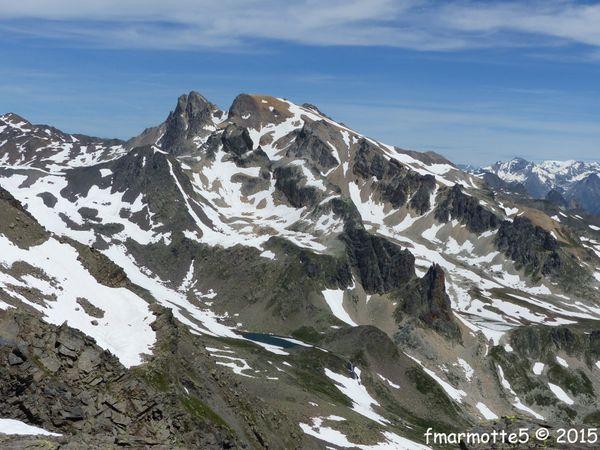 Panorama du sommet : Ecrins, Aiguilles d'Arves, Galibier, Rousses et Thabor.