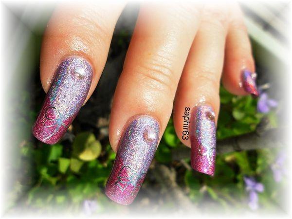 nail art duo holo et WD Y107 noeuds