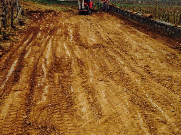 Remontage des terres qui ravinent en Volnay Santenots