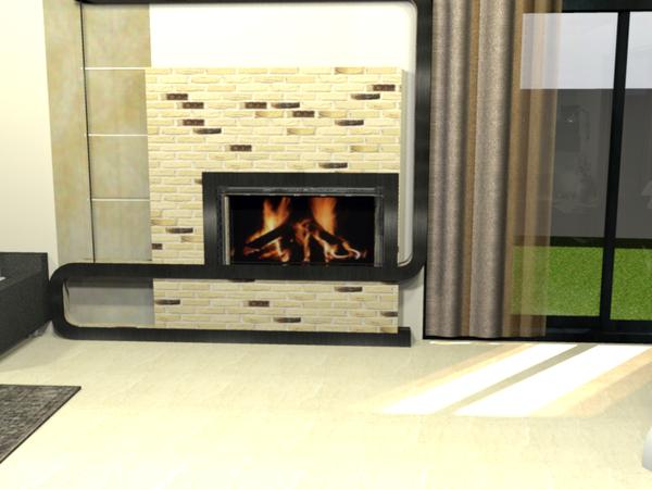 Création SCD 3D d'un salon SAM avec cheminée