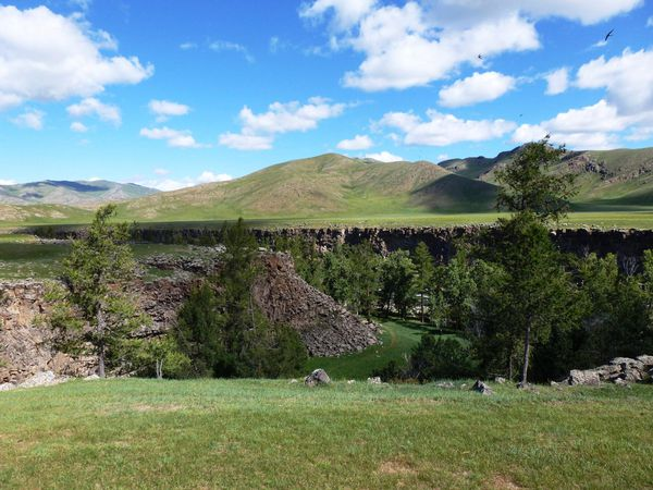 Waterfall and monastery in the Orkhon Valley