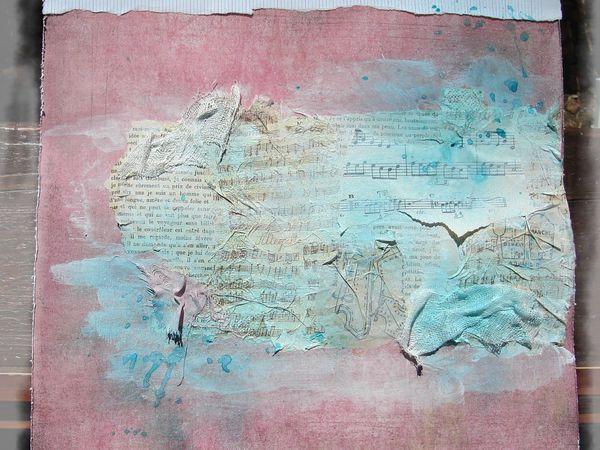 du papier musique, page de livre, serviette en papier musique, gaze, gesso, encre