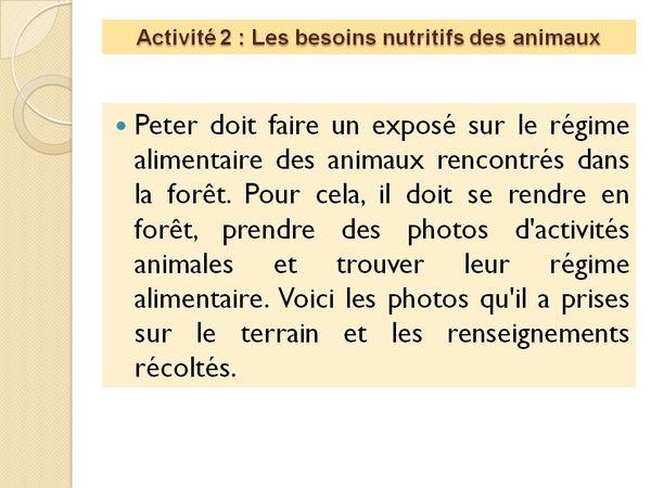 Leçon 2 : La production de matière organique par les animaux