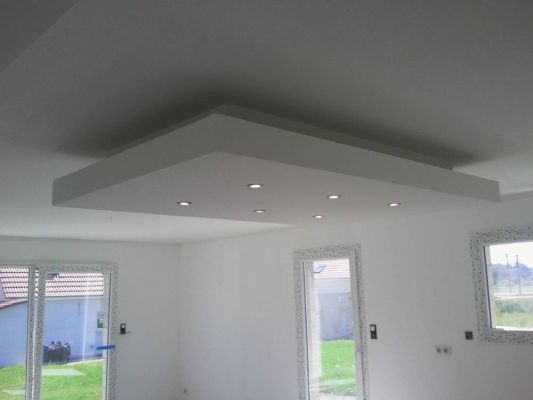 Exemple de realisation en placo b r menuiserie for Creer un faux plafond suspendu