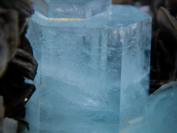 AquaMarine (Aigue Marine) on Muscovit from Chumar Bakhor mine, Nagar Valley, Gilgit District, Gilgit-Baltistan, Northern Areas of Pakistan (size: Cabinet)